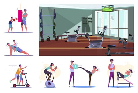 Set of sporty young people training. Flat vector illustrations of sportsmen boxing, doing pushups, exercising on stationary bicycle. Sport concept for banner, website design or landing web page