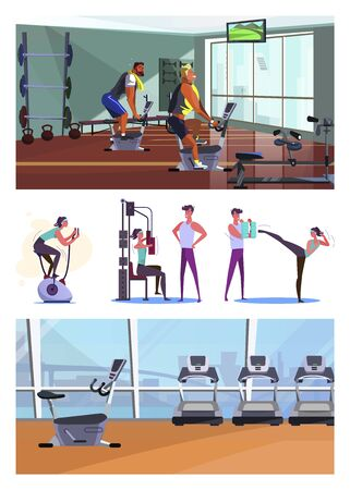 Set of sportsmen training at gym. Flat vector illustrations of young woman exercising with trainer and alone. Sport concept for banner, website design or landing web page