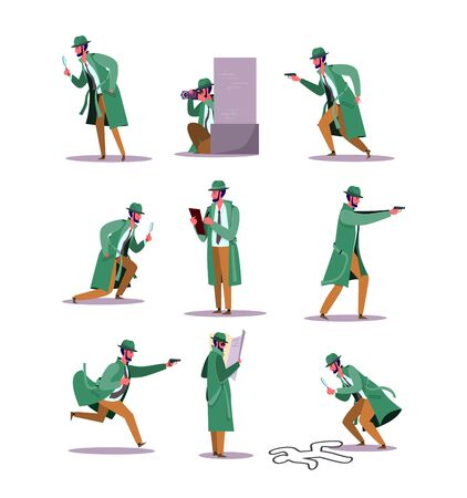 Set of detective investigating crime. Flat vector illustrations of man at his work duties. Detective profession and surveillance concept for banner, website design or landing web page.