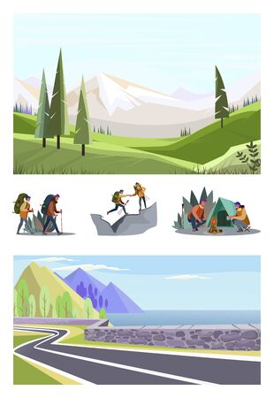 Set of young couple hiking. Flat vector illustrations of travelers camping, walking with Nordic sticks. Outdoor recreation concept for banner, website design or landing web page