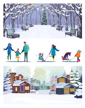 Set of parents resting with kids during Christmas holidays. Flat vector illustrations of families riding sledge and having fun. Winter holidays concept for banner, website design or landing web page