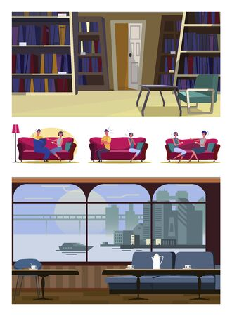 Set of young people sitting on couches. Flat vector illustrations of quarreling, talking, recovering. Leisure and home recreation concept for banner, website design or landing web page
