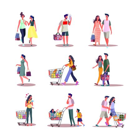 Set of people doing shopping. Flat vector illustrations of customers and cashier buying things. Shopping and consumerism concept for banner, website design or landing web page.