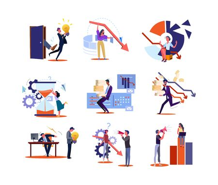 Set of business people at stressful jobs. Flat vector illustrations of men and women experience work crisis. Business and employment concept for banner, website design or landing web page. Stock Illustratie
