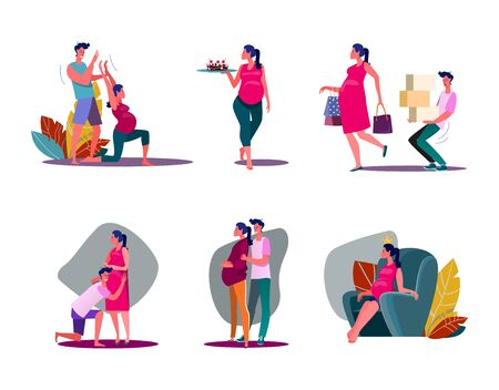 Set of women being pregnant. Flat vector illustrations of couples expecting child. Parenting and pregnancy concept for banner, website design or landing web page.
