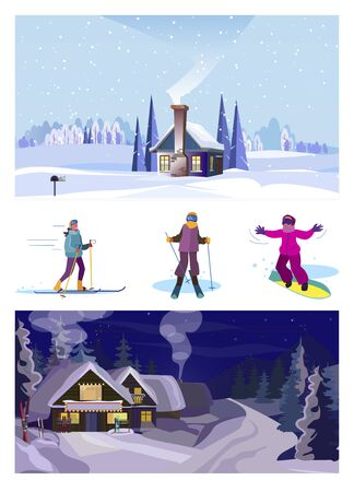 Set of winter activities. Flat vector illustrations of people skiing, snowboarding. Winter leisure concept for banner, website design or landing web page