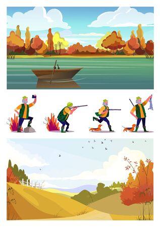 Set di cacciatore anziano con cane a caccia. Illustrazioni vettoriali piatte di cacciatore con fucile che guarda, spara, scatta selfie. Concetto di caccia per banner, design di siti Web o pagine Web di destinazione Vettoriali