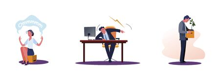 Set of office people at workplace. Flat vector illustrations of woman meditating, dismissed frustrated businessman carrying box. Employment concept for banner, website design or landing web page Vektorové ilustrace