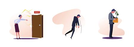 Set of unemployment people. Flat vector illustrations of man kicked out of work, carrying box with his things. Career failure concept for banner, website design or landing web page Ilustrace