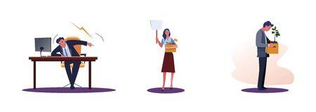 Satz frustrierte gefeuerte Leute. Flache Vektorgrafiken von schreienden Chefs, Arbeiter, die eine Kiste mit Dingen tragen. Karriereversagenskonzept für Banner, Website-Design oder Landing-Webseite
