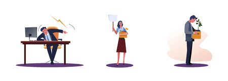 Set of frustrated fired people. Flat vector illustrations of boss screaming, workers carrying box with things. Career failure concept for banner, website design or landing web page Illustration