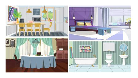 Modern home interior vector illustration set. Kitchen with dining table, bedroom in city flat, traditional dining room, bathroom. Housing concept