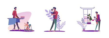 Set of young man doing various housework. Flat vector illustrations of father holding child, ironing, watering plant. Daily routine concept for banner, website design or landing web page