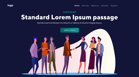 Young men and women speed dating. Romance, date, meeting, first impression flat vector illustration. Love and relationship concept for banner, website design or landing web page.