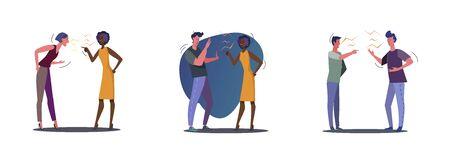Set of angry people quarrelling. Flat vector illustrations of people arguing. Quarrel concept for banner, website design or landing web page