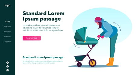 Mother looking at baby in stroller. Babysitter lulling child in pram flat vector illustration. Childcare, family and parenting concept for banner, website design or landing web page