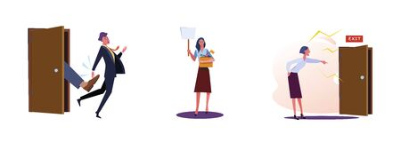 Set of dismissing employees. Flat vector illustrations of man kicked out of work, woman carrying box with her things. Career failure concept for banner, website design or landing web page