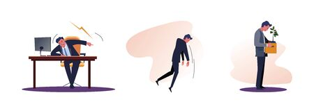 Set of fired people. Flat vector illustrations of boss screaming, man kicked out of work, carrying box with his things. Career failure concept for banner, website design or landing web page