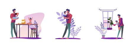 Set of young man doing housework. Flat vector illustrations of father holding child, cooking, watering plant. Daily routine concept for banner, website design or landing web page 向量圖像