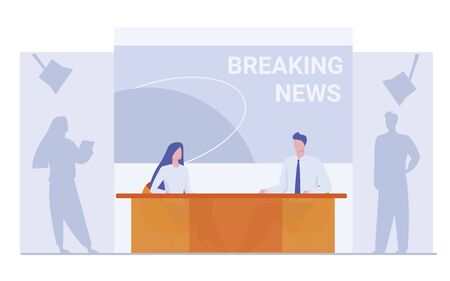 News anchors on breaking news background. Presenter, journalists, partners flat vector illustration. TV show, studio, broadcasting concept for banner, website design or landing web page