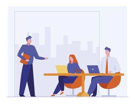 Business coach talking to audience. Leader or boss instructing team flat vector illustration. Speaker, training, leadership concept for banner, website design or landing web page