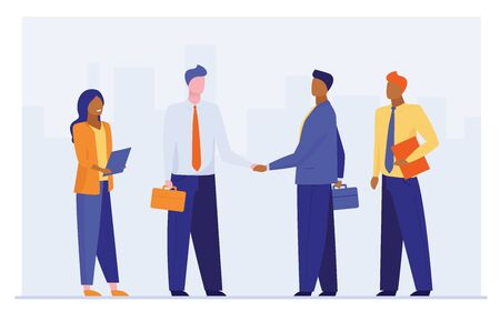 Business leaders shaking hands. Partners closing deal flat vector illustration. Partnership, cooperation, contract, agreement concept for banner, website design or landing web page