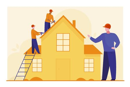 Workers repairing roof. Constructor group, roofers, foreman, house flat vector illustration. Renovation, housekeeping, improvement concept for banner, website design or landing web page