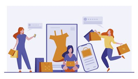 Customers buying goods online. Women with shopping bags and phones leaving feedback flat vector illustration. Satisfaction, rating, consumerism concept for banner, website design or landing web page
