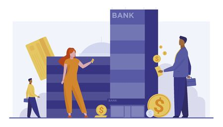 Customers with money standing near bank building. Clients, dollar coins, credit cards flat vector illustration. Finance, loan, online transfer concept for banner, website design or landing web page Vector Illustration