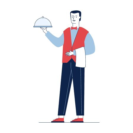 Waiter carrying dish. Man in bowtie with towel on hand flat vector illustration. Restaurant, dinner, catering concept for banner, website design or landing web page