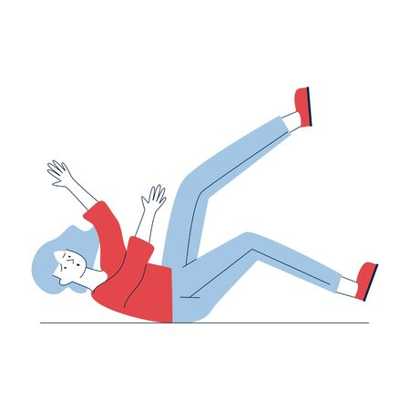 Woman falling down. Cartoon female character lying on slippery floor flat vector illustration. Carelessness, attention, accident concept for banner, website design or landing web page