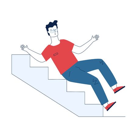 Young man falling downstairs. Cartoon character slipping on steps flat vector illustration. Failure, accident, trauma concept for banner, website design or landing web page Ilustração