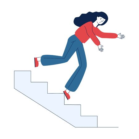Young woman falling from staircase. Cartoon female character slipping on steps flat vector illustration. Slippery steps, injury, insurance concept for banner, website design or landing web page