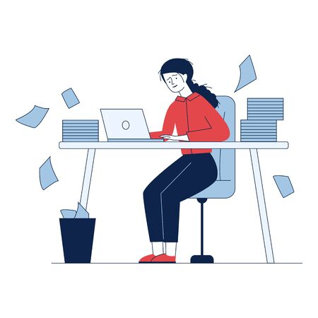 Stressed accountant working with stacks of reports. Employee with piles of documents holding head flat vector illustration. Paperwork, disarray concept for banner, website design or landing web page Illustration