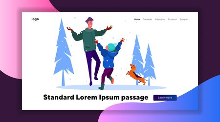 Father and son throwing snow in air. Brothers and dog walking outside at winter flat vector illustration. Winter outdoor activities, family concept for banner, website design or landing web page Иллюстрация