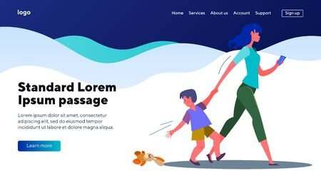 Son losing his toy walking with mother. Woman with boy hurrying flat vector illustration. Carelessness, gadget addiction concept for banner, website design or landing web page