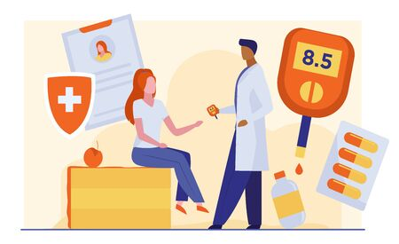 Doctor checking woman blood sugar level. Female patient sitting in endocrinologist cabinet flat vector illustration. Diabetes, health screening concept for banner, website design or landing web page