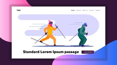 Two people skiing fast in row. Two skiers competing on track flat vector illustration. Winter outdoor activities concept for banner, website design or landing web page