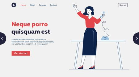 Secretary using wired telephone. Woman calling someone to phone flat vector illustration. Communication, retro technology concept for banner, website design or landing web page Ilustração