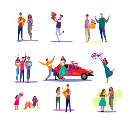 Set of giving presents unexpectedly. Flat vector illustrations of people presenting gifts for relatives and friends. Giving presents concept for banner, website design or landing web page