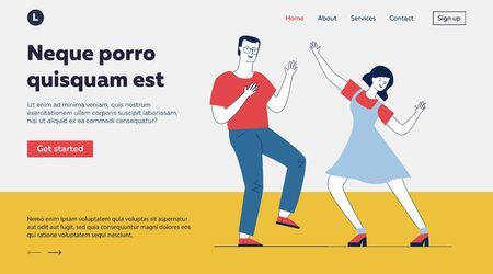 Dancing couple of students. Guy and girl enjoying retro party flat vector illustration. Having fun, action, leisure, hobby concept for banner, website design or landing web page Banco de Imagens - 137824016