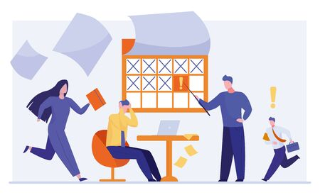 Stressed office staff working in deadline rush. Business people hurrying to finish project flat vector illustration. Business problem, deadline concept for banner, website design or landing web page