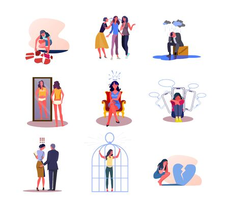Set of people experiencing negative emotions. Flat vector illustrations of men and women disappointed by life situations. Sadness, disappointment concept for banner, website design or landing web page