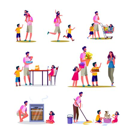 Set of young father doing various housework. Flat vector illustrations of father playing with kids, cleaning, cooking, shopping. Daily routine concept for banner, website design or landing web page Vettoriali