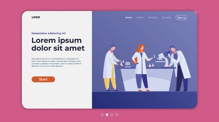 Lab workers analyzing samples. Assistants using microscope, test tubes flat vector illustration. Laboratory, medical test, chemical analysis concept for banner, website design or landing web page