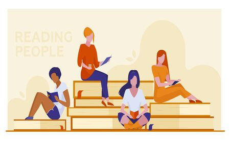 Four female students reading books. Girls sitting on giant books flat vector illustration. Library visitors, bookstore, education concept for banner, website design or landing web page