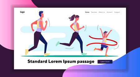Female and male athletes running marathon. Family running race first flat vector illustration. Running, successful sportsman concept for banner, website design or landing web page Фото со стока - 138357516