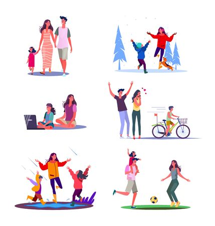 Set of families spending time together. Flat vector illustrations of parents with kids having fun. Family fun concept for banner, website design or landing web page