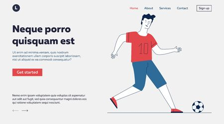 Football player kicking ball. Young man playing soccer flat vector illustration. Summer activity, hobby, training concept for banner, website design or landing web page