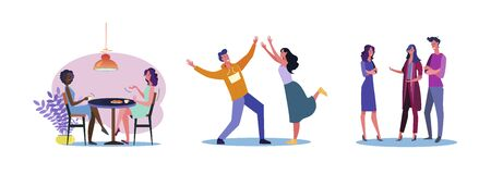 Set of casual men and women being friendly to each other. Flat vector illustrations of young people being friends. Friendship and relationship concept for banner, website design, landing web page Stock Illustratie